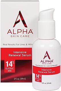 آلفا مراقبت از پوست - سرم بازسازی شدید، 14٪ AHA گلیکولیک، نتایج واقعی برای خطوط و چین و چروک | فریزر رایگان و پارابن رایگان | 2 اونس