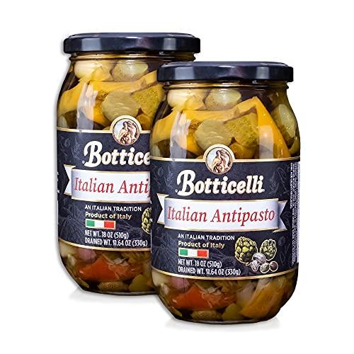 Botticelli Premium Italian Antipasto in a Jar (Pack of 2) - Authentic Italian Antipasto with Artichoke, Olives & Mushroom - For Antipasto Appetizer, Antipasto Salad & Antipasto Plates - 18oz