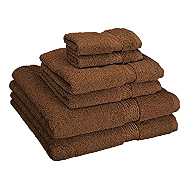 Superior 900 GSM Luxury Bathroom 6-Piece Towel Set, Made 100% Premium Long-Staple Combed Cotton, 2 Hotel & Spa Quality Washcloths, 2 Hand Towels 2 Bath Towels - Chocolate
