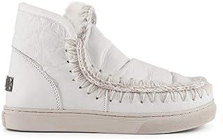 MOU Women's MUESKISNEAKERWXWHI White Leather Ankle Boots