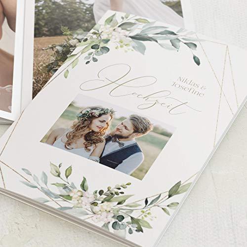 sendmoments Mini Fotobuch, Hochzeit, Botanisch Gold, kompakt auf 16 Seiten, im vertikalen C6 Format, personalisiert mit Wunschbildern & -Text, Bilder-Büchlein als Erinnerung oder zum Verschenken