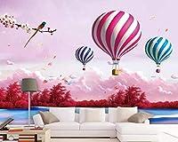 カスタム壁紙漫画3Dリビングルーム空おとぎ話熱気球ファンタジー子供部屋の背景3D壁紙-400cmx280cm(157.4x1