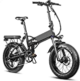 Electric Bike Electric Mountain Bike, Folding Electric Fat Tire Bike 20 Inch4.0 Removable Lithium Battery Electric Beach Bike Professional 8 Speed Adult 750w Bicycle Hydraulic Brakes Full Suspension