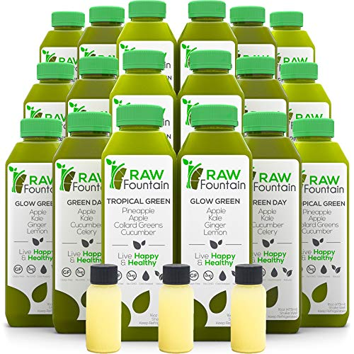 Raw Fountain 5 Day Green Juice Cleanse, All Natural Raw, Vegan Detox, Cold Pressed Juices, 30 Bottles 16oz, 5 Ginger Shots 6