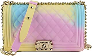 Matte Colorful PVC Jelly Chain Bags Plaid Multicolor Crossbody Purse Bag (Colorful 02)