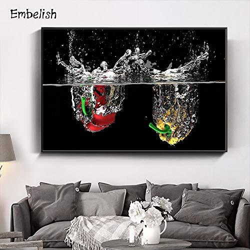 BailongXiao Stampa su Tela Canvas Frutta in Acqua per Soggiorno Quadri Decorativi e Poster Wall art84x126cmPittura Senza Cornice