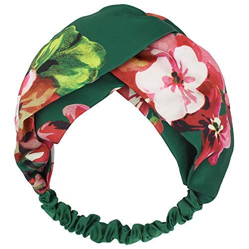 llv - Fascia per capelli in cotone e lino, motivo geranio, colore: Verde