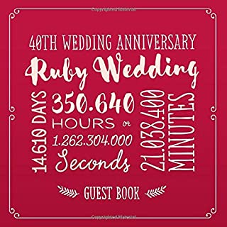 40th Wedding Anniversary ~ Ruby Wedding: Guest Book for Ruby Anniversary Party Decorations & Keepsake - 40 Years Decor Guestbook with beautiful pages for Good Wishes and Photos of Friends & Family