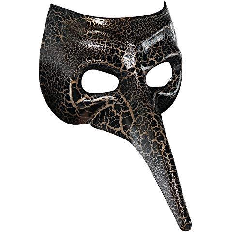 amscan 365734 Black Crackle Long Nose Mask, 1ct
