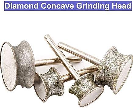 URANN 6mm Shank Diamond Concave Grinding Head Abrasive Tools Jade Ring Bracelet Polishing Grinding Concave Wheel Jade Carving : 16x20mm Rough sand