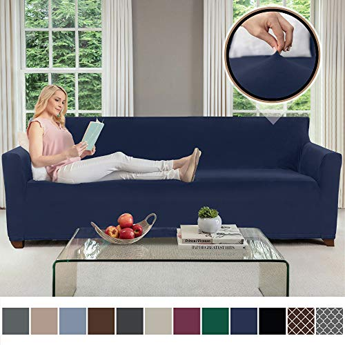 GORILLA GRIP Original Fitted Velvet 1 Piece X-Large Oversized Sofa Protector, Seat Width up to 78 Inch, Stretch Furniture Slipcover, Fastener Straps, Spandex Couch Slip Cover for Pets, Sofa, Navy Blue
