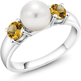 925 Sterling Silver Yellow Citrine and Freshwater Pearl Women's Ring 0.64 Ct Round (Available 5,6,7,8,9)