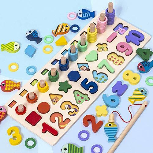 KKmoon Quebra-cabeça de números de madeira Jogo de matemática Jogo de matemática Brinquedos de aprendizagem precoce Cor Forma Classificação de números Contagem de números Educação pré-escolar Melhor