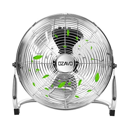 "OZAVO Ventilador de Suelo Industrial con Circulador de Aire, Diámetro de Hoja de 30cm (12""), Patas Antideslizantes, 3 Aspas, 3 Velocidades, Motor de Cobre, Inclinación Regulable, 50W, Negro"
