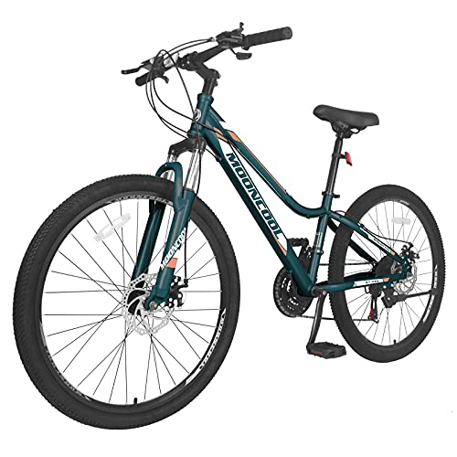 MOONCOOL Adult Mountain Bikes 20/24/ 26 Inch Mountain Bicycle, Disc Brakes Suspension Front Fork, 7-21 Speeds Options, Aluminum and Steel Frame Options, Mountain Bike for Adults Mens Womens