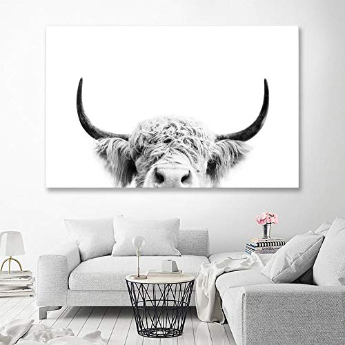ONEAM Wandkunst Gemälde Schwarz-Weiß Peeking Highland Cow Wand Leinwand Kunst Nordic Painting Poster und Druck Skandinavische Wandbilder für Wohnzimmer / 60x90cm Rahmenlos