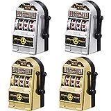 Gejoy 4 Stück Mini Spielautomat Spielzeug Glücklicher Spielautomat Bank mit Spinnrollen, Gold und...