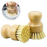 2 Piezas Cepillos de Bambú Fregar, Cepillo de Cocina Mango Redondo de Madera para Olla Cuenco Plato - 8 cm
