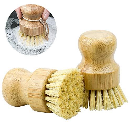 ZHENA 2 Pcs Pilzbürste Gemüsebürste Topfbürste Naturborsten, Spülbürste runde Küchenbürste aus Bambus zur Reinigung von Töpfen, Pfannen, Tellern, Besteck