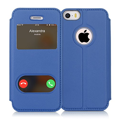 FYY iPhone se Funda, iPhone 5S, iPhone 5Móvil, Funda de Piel sintética ecológica de Calidad (Funda Carcasa Case Cover Funda) para Apple iPhone se/5S/5 A-Schwarzblau iPhone SE/5S/5