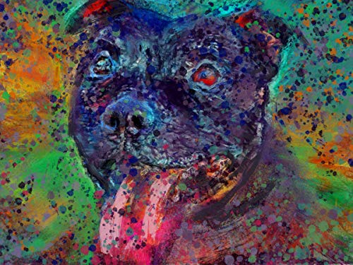 Staffordshire Bull Terrier Digital Art, Nursery Dog Gifts, Abstract Dog Memorial Painting, Staffy Picture, Choice of Size A4, A3 Hand Signed by Oscar Jetson