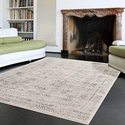 mynes Home Moderner Kurzflor Vintage Teppich in Used Look Beige Grau Hell mit linierter und moderner Musterung auch als Wohnzimmerteppich geeignet (160x230 cm)