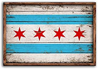 53x33cm Unframed Chicago Wood Flag Flags Rustic Windy City Flags Wooden Handmade Sign Print ChiTown Cubs Bears Sign Decor Sign Wall Decor Signs cb665059
