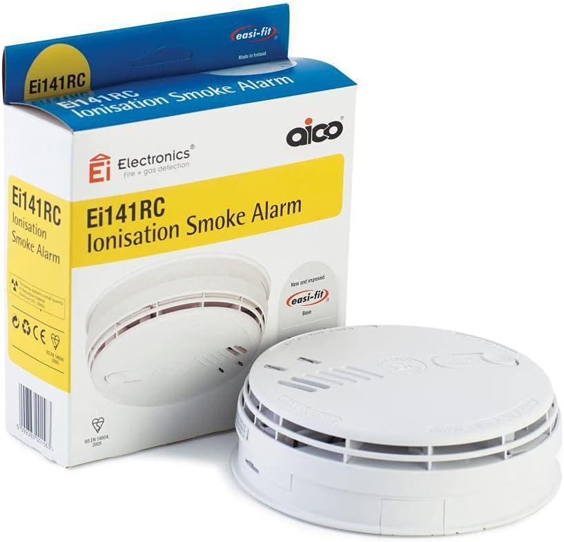 Detector de humo mediante ionización Aico EI141RC, con batería de respaldo de 9 V