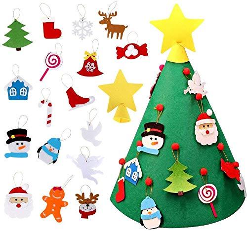 Árbol de Navidad de Fieltro 3D DIY, Navidad para Niños Mejorado con 18 Adornos para Decoraciones para árboles de Navidad Manualidades Regalo de Año Nuevo Decoración del Hogar