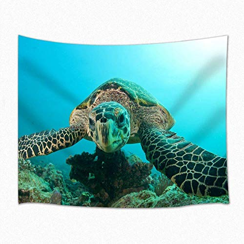 Tapiz de escena de tortuga marina buceo bajo el agua en agua turquesa colgante de pared para dormitorio sala de estar dormitorio 150x200cm