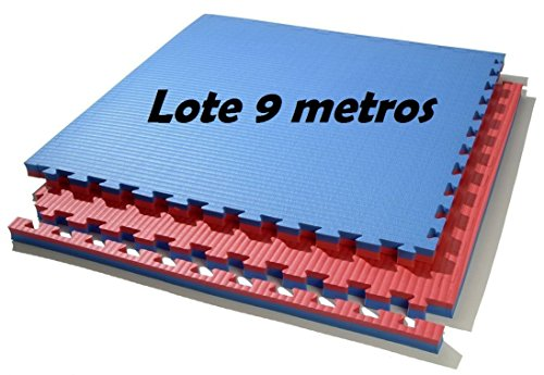 Grupo Contact Lote 9 m. Cuadrados de Suelo Tatami, Colores (Rojo/Azul) de 2 cmts.