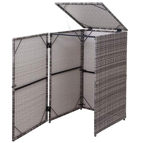 Mendler Mülltonnenverkleidung HWC-E25, Mülltonnenbox Mülltonnenabdeckung, Poly-Rattan 120l ~ grau