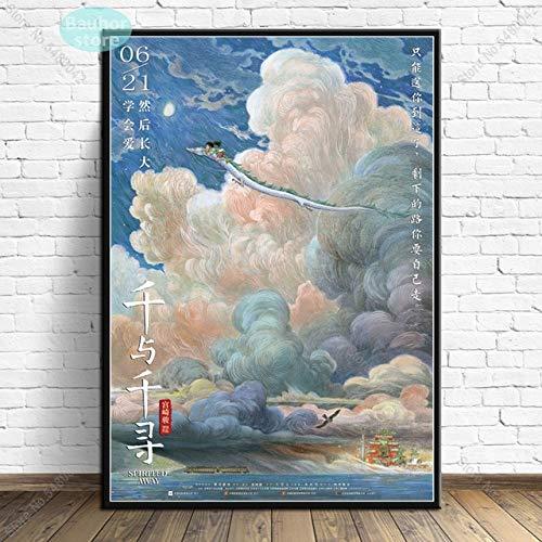 shuimanjinshan Spirited Away Art Affiche Studio Ghibli par Hayao Miyazaki Japon Anime Affiches et Impressions Art Mural Toile Peinture Art décoration de la Maison 50x70cm 01