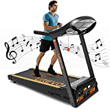 UREVO Treadmills for Home, Electric Treadmill with 15% Automatic Incline Foldable 3.0HP Workout Running Machine Walking Jogging Shock Absorption, Pulse Sensor, Bluetooth Speaker & 17.7' Wide Belt