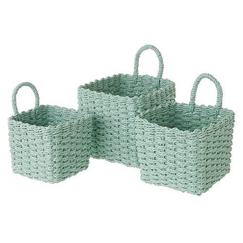 Set de 3 cestas de Fibra de Papel Verdes cuadradas con asa - LOLAhome