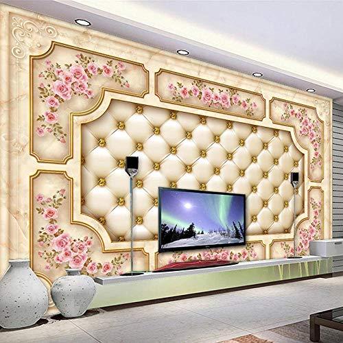 Papel tapiz mural autoadhesivo personalizado 3D estilo europeo mármol paquete suave flor rosa sala de estar TV Fondo revestimiento de paredes