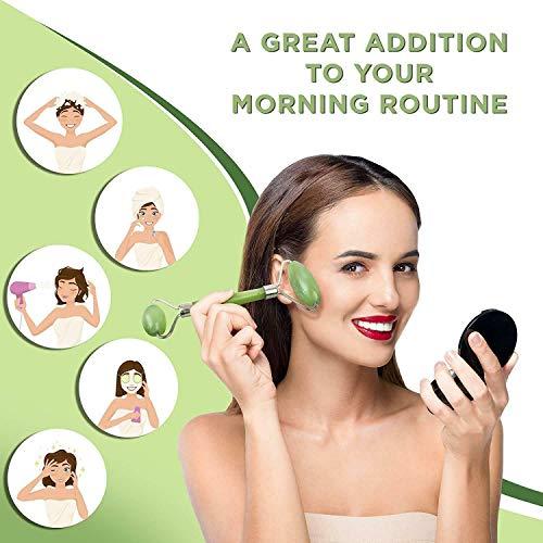 Massagerolle, Jade-Gesichtsmassagegerät, Anti-Aging Für Das Gesicht, Natürliches Jadesteinmassagegerät, Entspannt Die Gesichts- Und Halshaut, Schlanke Wangen, Hautstraffung