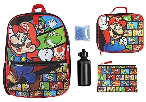 Nintendo 5 PC Shimmer Pixel Character 16' Backpack Combo Set