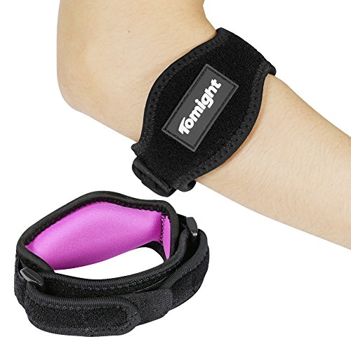 Tomight [2 Pack] Elbow Brace, Tennis Elbow Brace with Compression Pad for Both Men and Women, pink