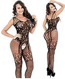 Fishnet Bodysuit - Sexy Lingerie for Women – Lenceria Sexy para Mujer (Black)