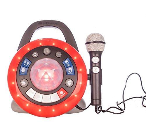 iDance Micrófono con Altavoz Party Ball PB2 Negro, Sistema de Luces LED