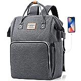 SUEBEKUE Rucksack Damen,15.6 Zoll Laptop Rucksack Tagesrucksack Schule Rucksack mit USB Ladeanschluss und RFID Schutz,Wasserdicht (HQX60-Dark Gray)