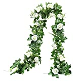 THE BLOOM TIMES 2 Pcs 15.6FT Artificial Rose Vine Silk Flower Garland Decoration Fake Hanging Plants Floral Garland for Home Wedding Arch Ceremony Wall Indoor Outdoor Decor (White)