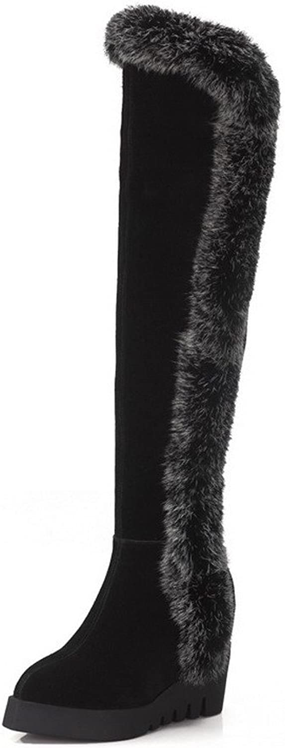 WeenFashion Women's Cow Leather Frosted Pointed Closed Toe Above-the-knee Kitten-Heels Boots