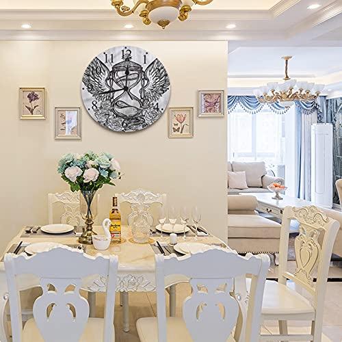 LUHUN Reloj de Pared diseño Moderno de 30 cm, Alas de Reloj de Arena rústicas incompletas Rosas,Reloj de Pared silencioso Digital, Utilizado en la Sala de Estar la Cocina