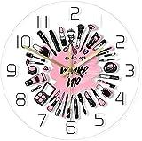 Reloj De Pared Reloj De Pared Despertador Y Maquillaje Colección De Cosméticos Logotipo De Reloj De Pared Moderno En Salón De Belleza Set De Maquillaje De Pared De Negocios Reloj De Pared Deportivo Mu