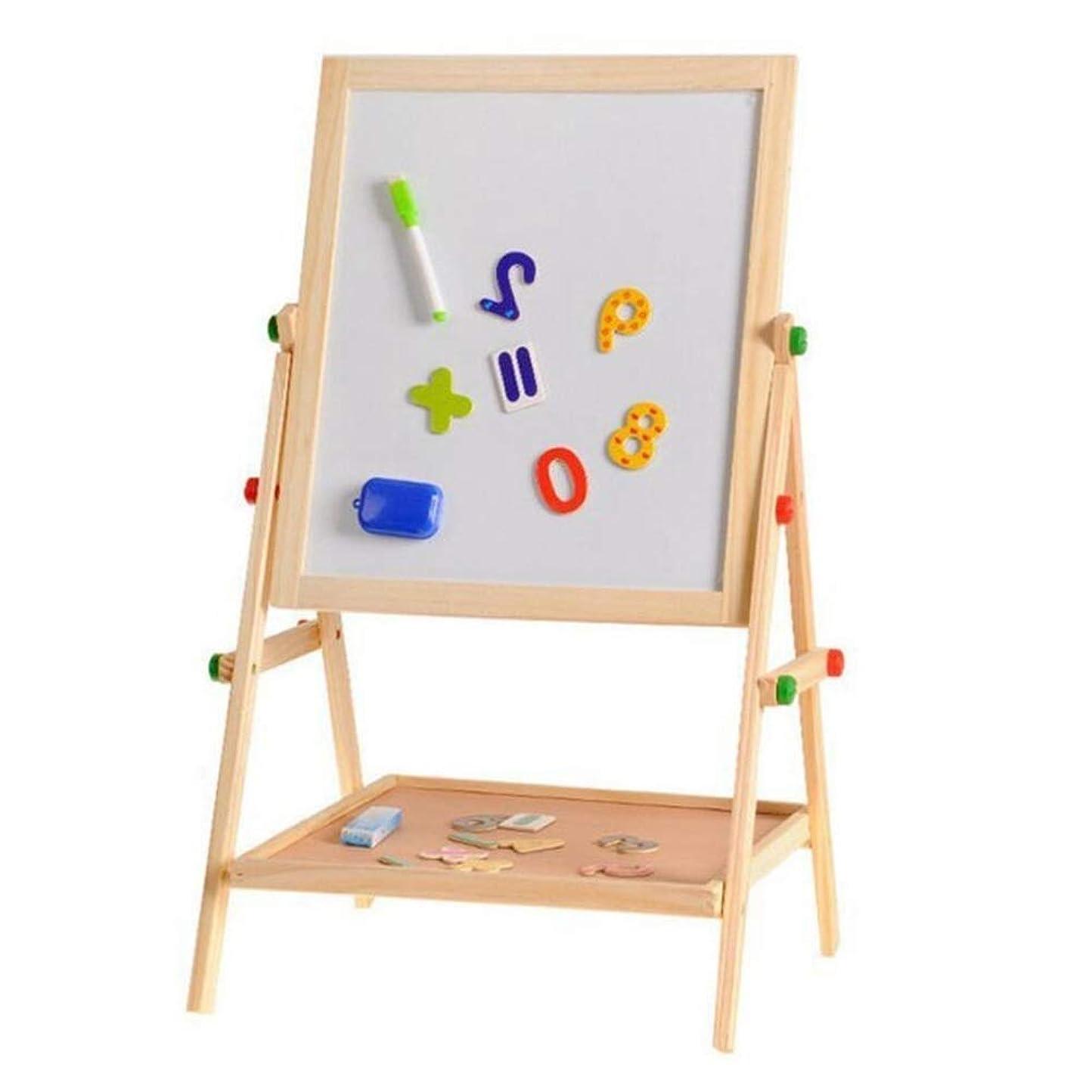 コンピューターゲームをプレイするパイ刺しますDISS ペーパーロールが付いている子供の木のイーゼル - 調節可能な高さの磁気二重味方された子供の芸術のイーゼルホワイトボード&黒板乾いたイーゼルのドローイングボード2-8年の幼児子供の絵画