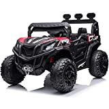 sopbost Ride On UTV Car for Kids with Remote Control 12V 4WD Ride On Truck Electric Vehicles Toddler/Kids Electric Ride On Toy with Spring Suspension, Bluetooth, LED Lights, MP3 Music, Red