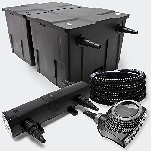 Filter Set aus Bio Teichfilter 60000l, 24W UVC Teichklärer, 80W Pumpe und 25m Schlauch