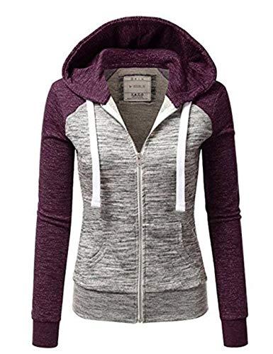 Chigant Damen Jacke Kapuzenpullover Reißverschluss Sweatjacke Hoodie Sweatshirt Pullover Oberteile V Ausschnitt Patchwork Pulli mit Kordel und Zip S-5XL
